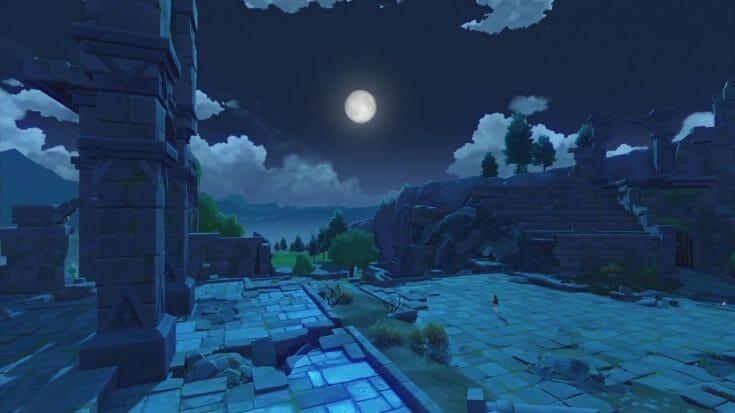 Une ruine durant la nuit dans Genshin Impact Écran Partagé