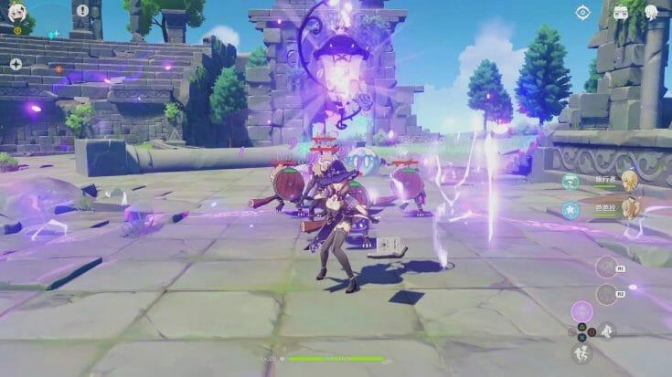 Le personnage Lisa en combat dans Genshin Impact Écran Partagé